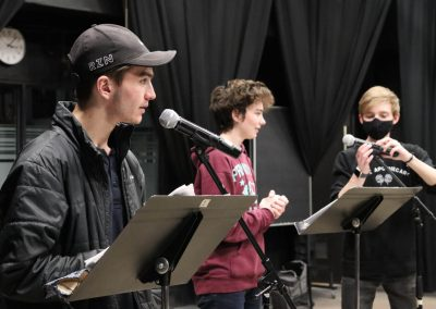 recording 'Death of a Doll' radio play, PVA Central spring 2021